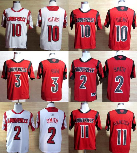 Factory Outlet- Free shipping -NCAA Louisville Cardinals Peyton Siva #3 Gorgui Dieng #10 Luke Hancock 11 College Football Jerseys size S-3XL