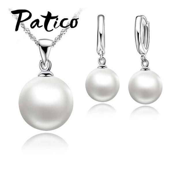 Mode Bijoux De Perles Ensemble De Bijoux En Argent Sterling 925 + Cerceau De Perle Boucles D'oreilles Parures De Mariage