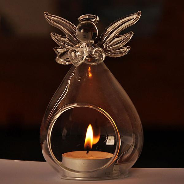 Transparente Engel Kristall Glas Kerzenständer Hängen Romantische Hochzeit Bar Party Home Decor Indoor Garten Ornamente