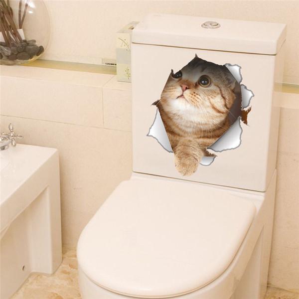 3D Mignon Chat Chien Autocollants De Toilette Creative Stickers Muraux Salle De Bains Toilette Décorations Animal Affiche Murale Sticker Murale Home Decor