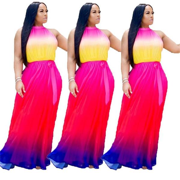 Gradiente Cor Vestido De Férias De Verão Para As Mulheres Fora Do Ombro Sem Mangas Longo Maxi Vestido Ocasional O Pescoço Cintura Alta Caixilhos Vestido N19.6-2007