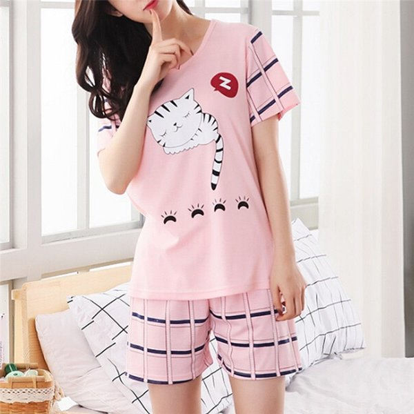 For Pajamas Women Summer Short Sleeve O Neck Printed Tops And Shorts Sets Sleep Wear For Women