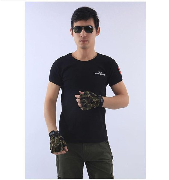Men's Army Military Fans Hiking T-shirt Summer Tight Short Sleeved T-shirt Airborne Division Fitness Sports Outdoor T-shirt