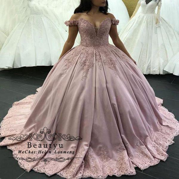 Vestidos De Daminha Blush Rosa Vestido De Baile Quinceanera Vestidos De Cetim De Renda 2019 Vestido De Baile Vestidos 15 Anos Querida Fora Do Ombro