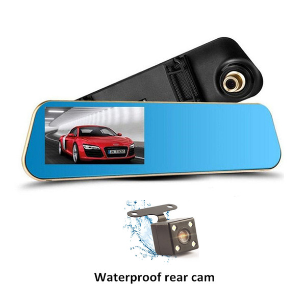 "1080P full HD 4.3"" car DVR dashcam driving recorder rearview mirror 2Ch on-dash cameras 140 degrees G-sensor cycle recording parking monitor"