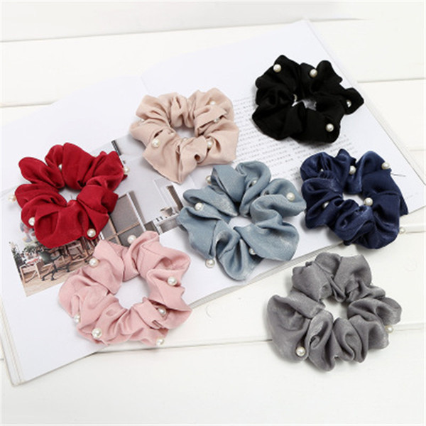 best selling Women girl hair Bun wraps Scrunchy Ring Elastic Hair Bands Bobble Sports Dance Scrunchie Scrunchie Hairband R0646