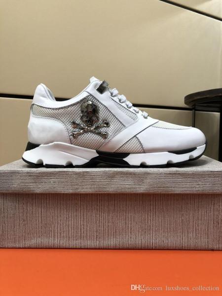 Scarpe da ginnastica in pelle da uomo stile runner Punk, scarpe casual in PP decorate con iconico teschio in metallo per il tempo libero Taglia 38-45
