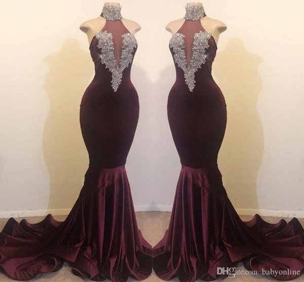 Burgundy Evening Prom Dresses Real Images 2019 Sexy High Neck Mermaid 2K19 Party Vestidos Beaded Sequins Long Celebrity Gowns BC1144