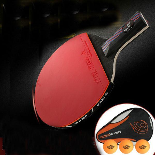 Venta al por mayor-profesional 9.8 Carbon Nanoscale WRB System Table Tennis Bat Racket Long Short HandlePong Paddle Racket With Carry Bag