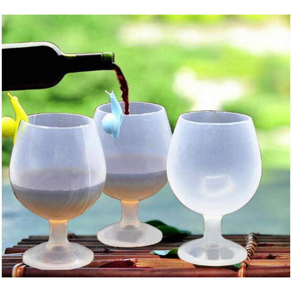 Silicone Wine Glasses Outdoor Portable Rubber Wine Beer Glass Standing Goblet Silicone Cup Fashion Wine Glasses for Camping BBQ