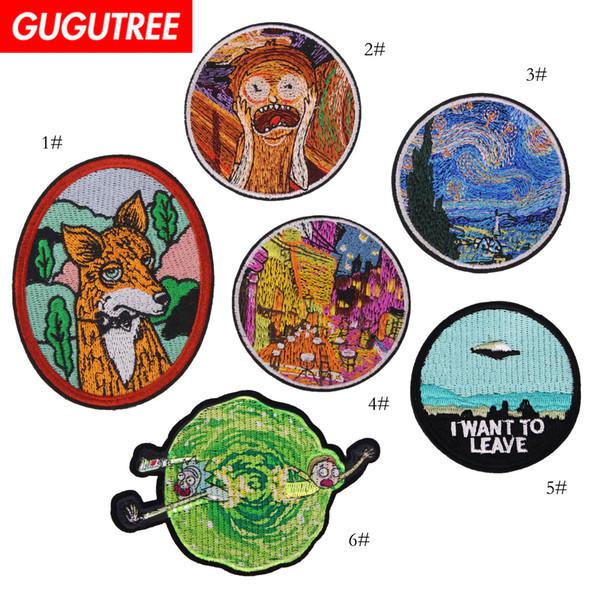 GUGUTREE Stickerei große Patches Malerei Patches Abzeichen Applikation Patches für Kleidung SP-473