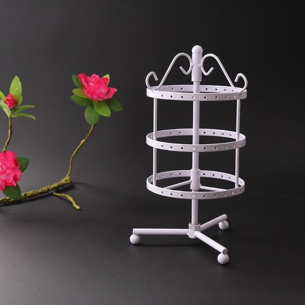 Fashion Ear Stud Necklace Jewelry Display Rack Metal Rotating Display Stand Holder Multifunctional 72 Holes Earrings Stand