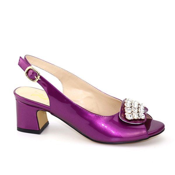 2019 New Pretty design African Sandals sexy Lady Shoes with Purple Color Italian PU Leather High Heels For Women Wedding Party