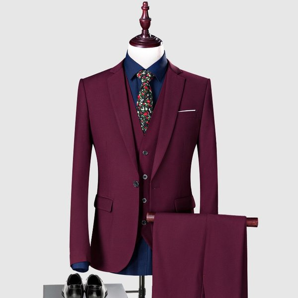 Custom Burgundy Wedding Suits for Groom Tuxedo Men Suits 3 Pieces Slim Fit Bridegroom Blazers Formal Business Jacket Prom Wear Pants Vest