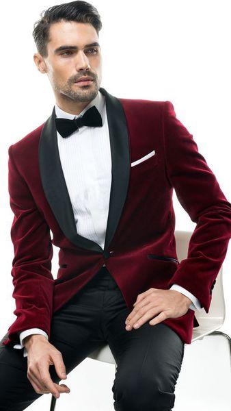Solovedress New 2 Pieces Burgundy Men Suit Wool Velvet Groomsman Tuxedos Jacket & Trousers Set Formal Wedding Best Mens Suits