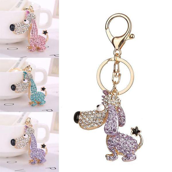 Hot 3 Colors Key Chains Fashion Dog Rhinestone Keychain Bag Handbag Ring Car Key Pendant