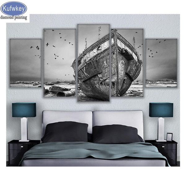 Wall Art 5 Pieces diamond Painting boat landscape full square round drill diy embroidery mosaic For Home Decor 3d Pictures