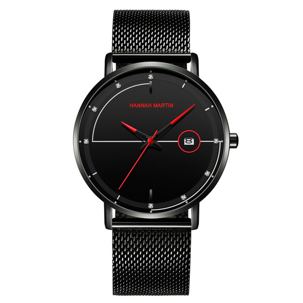 Hot Sale Mens Designer Uhren Edelstahlgewebe Gürtel Wasserdicht Ultra-dünne Kalender Uhr Herz Hot Items