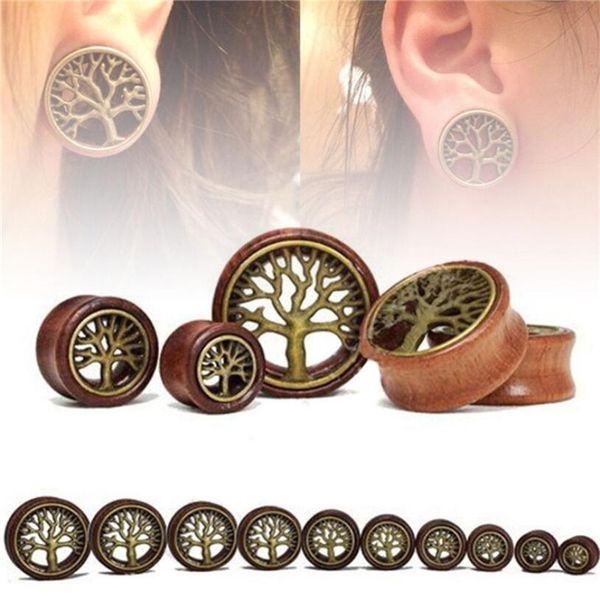 1 Pair The Tree Of Life Saddle Fit Ear Plug Wood Flesh Tunnel Organic Body Ear Expander Fashion Piercing Earring Fashion Jewelry