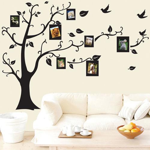 Trasporto libero Large Nero 3D fai da te photo albero murali Stickers PVC / adesivo Famiglia adesivi murali murale domestico di arte della