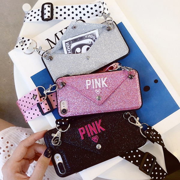 Wholesale Designer Phone Cases for Iphone Fashion Famous Brand PINK for XR XS MAX X 6 S 7 8 plus With Long Lanyard