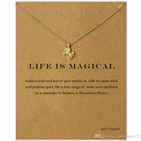 top popular Fashion Women NO dogeared LOGO Necklace Unicorn Pendant Short Clavicle Jewelry Gold Silver Chain Animal Necklace Alloy Pendants Necklaces 2020