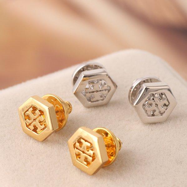 Nouvelle marque T lettre charme et matériel en laiton amour punk boucle d'oreille creuse goujons de conception envoyer aux femmes populaire fine bijoux