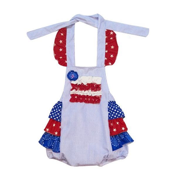 Infant Girls Independence Day Romper Summer Kids Star Stripe Bow Halter Jumpsuit 4th of july Children american flag Printed Onesie Y2260