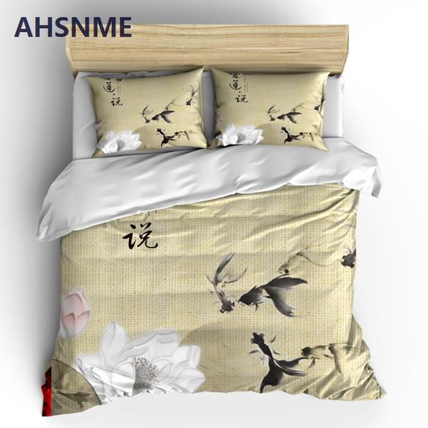 AHSNME Elegant Lotus Bedding Sets Chinese Painting Duvet Cover Pillowcase 2/3pcs Bed Set Flower Bedlinen Queen King Size
