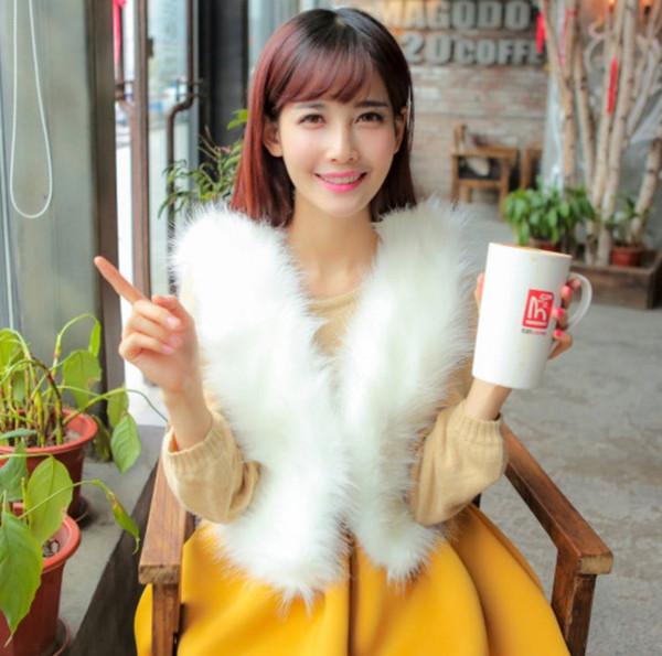2019 Vetement Winter Women's Faux  Fur Coat Plus Size Coat Furry Furry Vest Slim Sexy Lolita Vest Short AW224