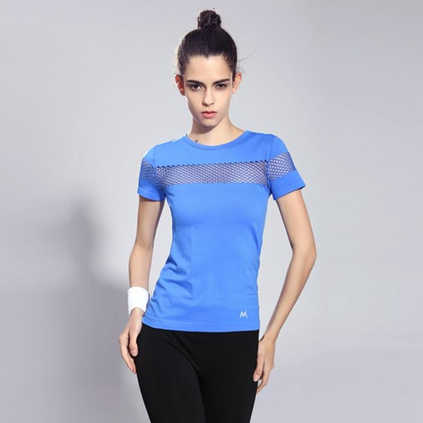 hot sale online in stock new concept Women Sports T Shirt Running Short Sleeve Quick Dry Breathable Gym Sexy  Hollow Nylon Sportswear Tops Now T Shirts Deal With It T Shirt From ...