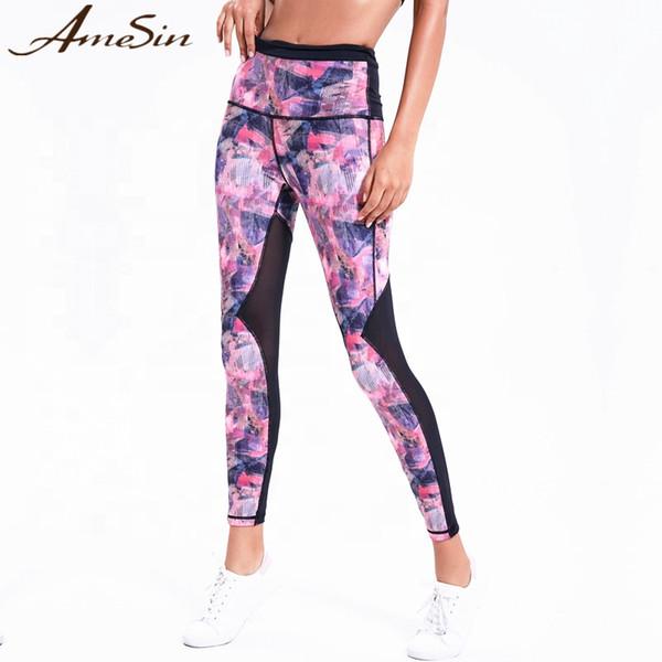 Amesin sexy mesh yoga hosen taille tasche yoga leggings sublimation 3d print frauen gym leggings sportbekleidung sportbekleidung fql21