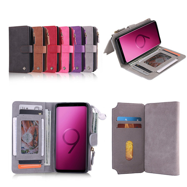 Luxury Leather Flip Cover For Galaxy S7 S7edge S8 S8+ S9 S9+ Note 8 9 Magnet Back Cover with Purse Stand Card Slot Zipper Wallet Phone Case