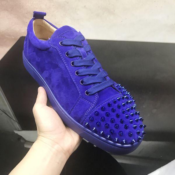 Junior de Luxe Chaussures Chaussures Homme Gris Blue Suede Low Top Red Chaussures de fond, la qualité de la mode Rouge Sole Loisirs de plein air Flats Taille: 35-47