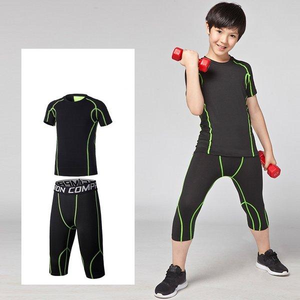 Kids Compression running set tuta sportiva per esterno gioventù palestra pallacanestro calcio calcio tennis fitness Leggings camicie 3 4 pantaloni # 687807