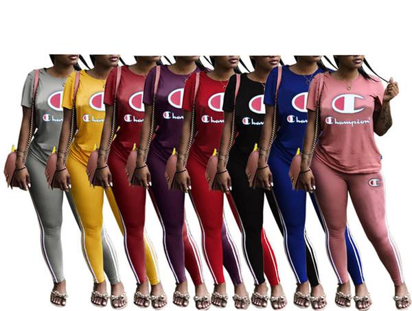 top popular Champions women 2 piece set sports suit jogging suit casual suit crew neck short sleeve tshirt bodycon leggings pants summer clothing 234 2019