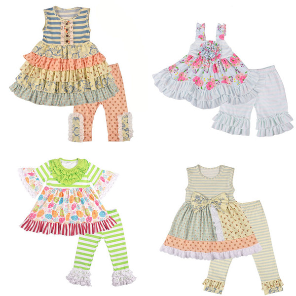 Baby Girl Clothing Set Lace Printed Flare Sleeve Tutu Tops Bell-bottoms Pants Two-Piece Sets Baby Girl Clothes 4M-14T 07