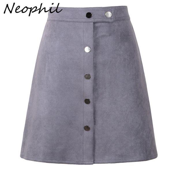 Neophil Women Suede Button Mini A Line Skirt High Waist Black Vintage Style Winter Wrap Ladies Short Skirt Tutu Saia S1001 Q190517