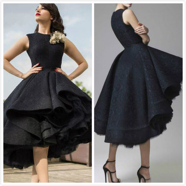 2019 Designer Dress Short Front Long Back Party Prom Dresses Elegant Black Lace Dubai Arabic Evening Gowns Tea Length High Low Celebrity