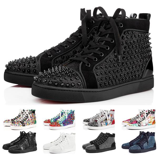 Großhandel 2019 Christian Louboutin Designer Sneakers Red Bottom Schuh Low Cut Studded Spikes Luxus Schuhe Für Männer Und Frauen Schuhe Party Hochzeit