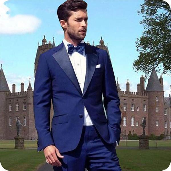 Custom Made Mavi Damat Düğün Smokin Erkekler Suits Erkekler Suits Adam Blazer Sigara Ceket 2 adet Akşam Parti Yakışıklı Groomsmen