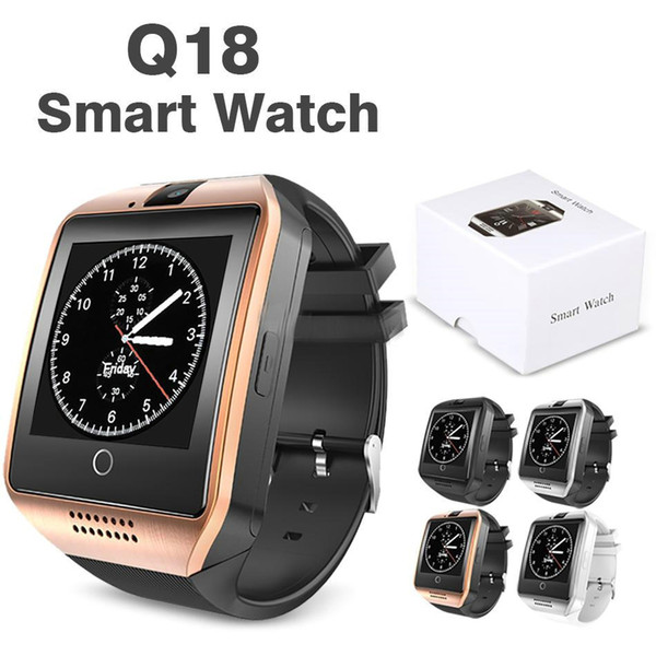 best selling Q18 Smart Watch Bluetooth Wristband Smart Watches TF SIM Card NFC with Camera Chat Software Compatible Android Cellphones with Retail Box