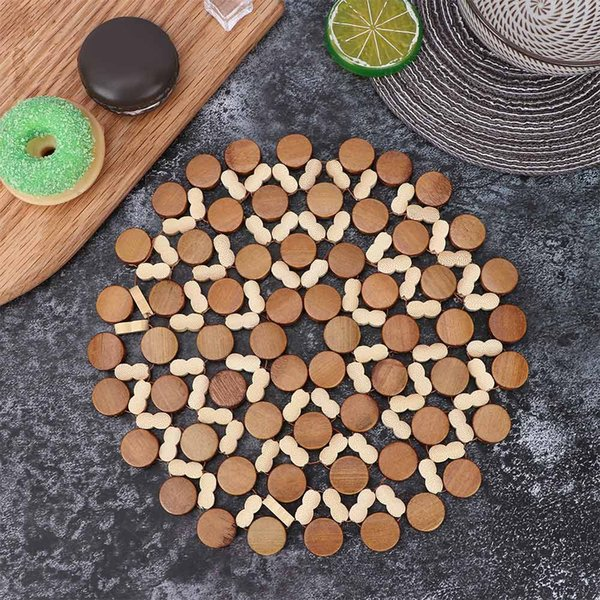 1pcs Practical Round Bamboo Placemat Kitchen Tool Desk Table Mats Hollow Wooden Against Hot Coasters