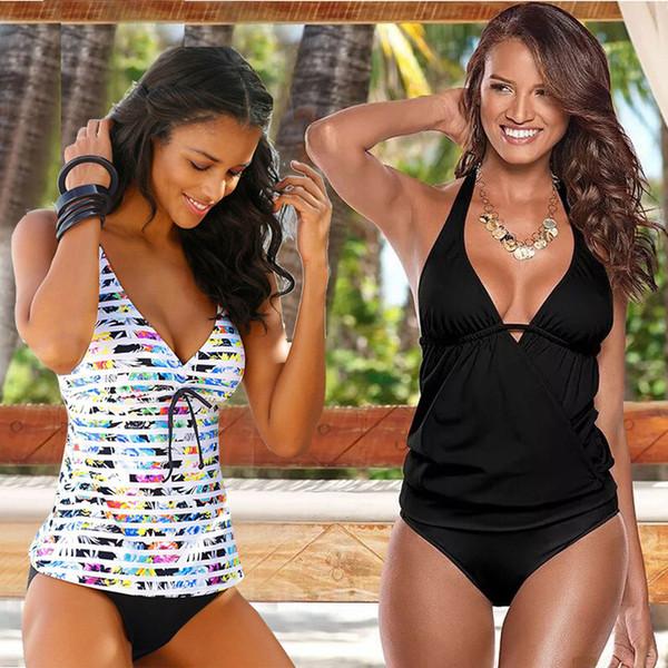 Tankini Swimsuits Women 2019 Gradient Plus Size Swimsuit Female Vintage Sporty Two Piece Suits Beachwear Maillot De Bain S-xxxl Y19072401