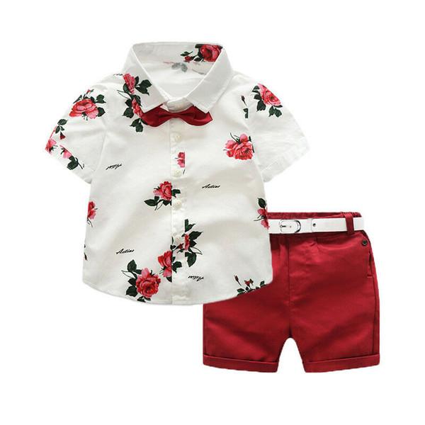 2019 Yepyeni 3 Adet Yürüyor Bebek Boys Çocuk Gentleman Kıyafetler Suit Çiçek Gömlek Tops + Katı Kırmızı Şort Kemer Seti Giysi 1-7 T