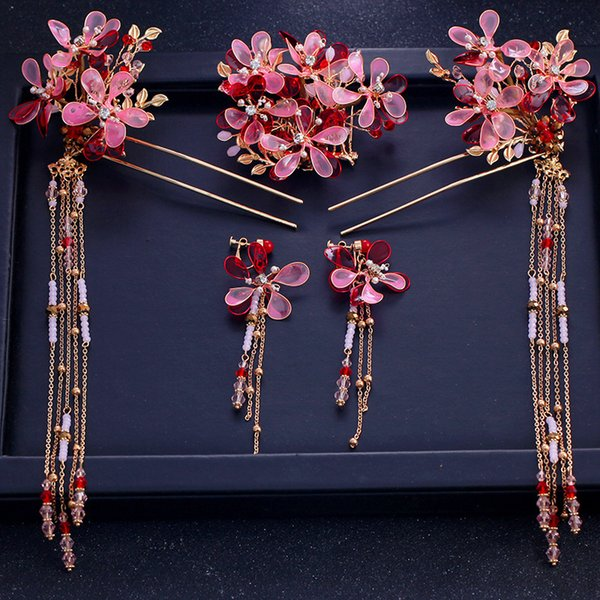 T1015 Chinese Style Bride Headwear Classical Weddding Accessories Handmade Red Pink Crystal Flowers Bridal Crown Hairpin Earring