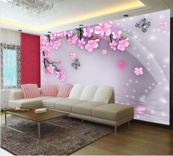 benutzerdefinierte Größe 3D-Fototapete Wohnzimmer-Bett-Zimmer Wand Fantasie Schmetterling Liebe Blumenbild Sofa Fernsehhintergrundtapete Vlies Aufkleber