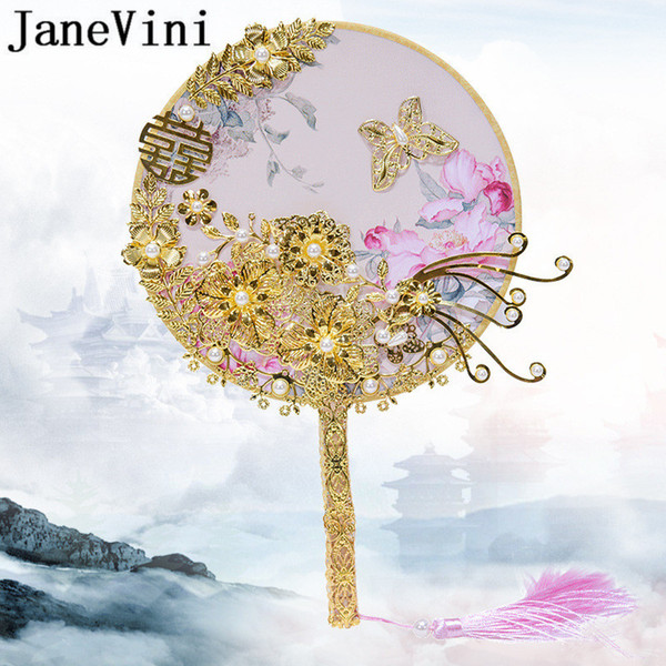 JaneVini Traditional Wedding Bridal Fan Golden Flowers Bride Bouquets Pearls Metal Chinese Style Wedding Bouquet Brooches Fans 2019