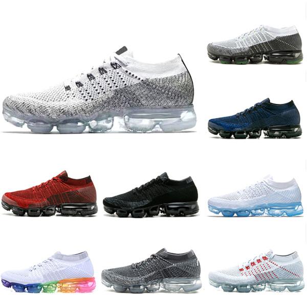 2019 Coussin Fly 1.0 Hommes Femmes Chaussures de course en plein air Noir Blanc Gris Rouge Bleu en tricot 1s de jogging Designer Sport Sneakers Us5.5-11