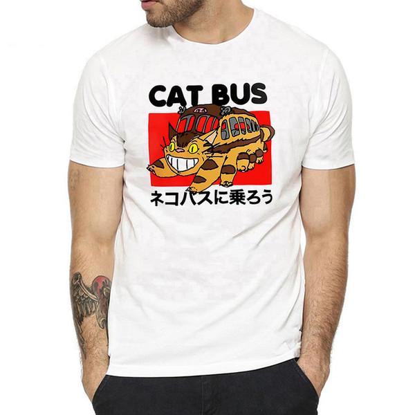 Cat Bus Унесенные призраками японские аниме футболки унисекс с коротким рукавом O-образным вырезом без лица Man Повседневная футболка Miyazaki Hayao